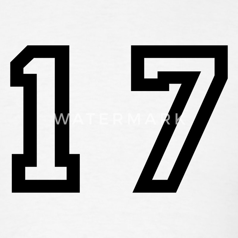 White number - 17 - seventeen T-Shirts - Men's T-Shirt