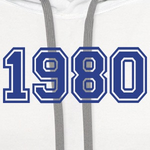 White 1980 Buttons - Contrast Hoodie