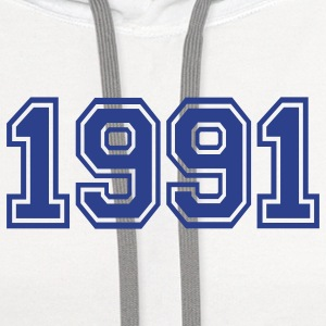 White 1991 Buttons - Contrast Hoodie