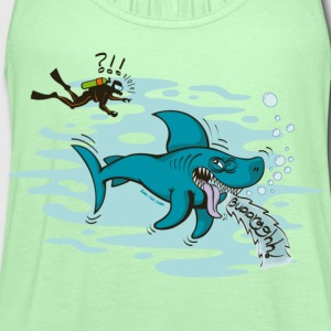 Bright green Disgusted Shark T-Shirts - Women's Flowy Tank Top by Bella