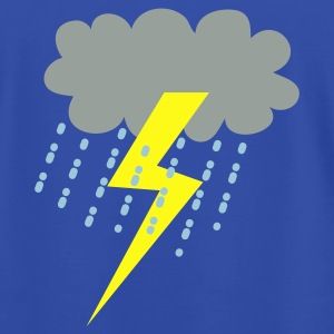 Royal blue raincloud clouds storm with lightning Hoodies - Men's T-Shirt by American Apparel