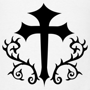 White gothic cross with thorns Polo Shirts - Men's T-Shirt