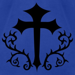 Royal blue gothic cross with thorns Hoodies - Men's T-Shirt by American Apparel