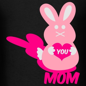 Black love you mom bunny lover rabbit cute with love heart Bags  - Men's T-Shirt