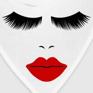 White Fashion Face Silhouette, Red Lips, Lashes--DIGITAL DIRECT ONLY! Women's T-Shirts - Bandana