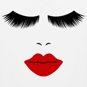 White Fashion Face Silhouette, Red Lips, Lashes--DIGITAL DIRECT ONLY! Women's T-Shirts - Men's Premium Tank