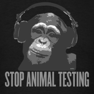 Black DJ MONKEY stop animal testing by wam Hoodies - Men's T-Shirt