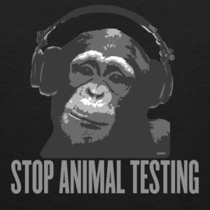 Black DJ MONKEY stop animal testing by wam Hoodies - Men's Premium Tank