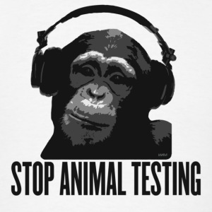White DJ MONKEY stop animal testing by wam Hoodies - Men's T-Shirt