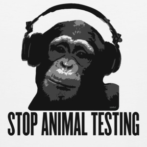 White DJ MONKEY stop animal testing by wam Hoodies - Men's Premium Tank