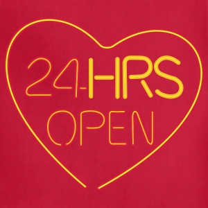 Brown neon sign: 24 hrs open heart T-Shirts - Adjustable Apron