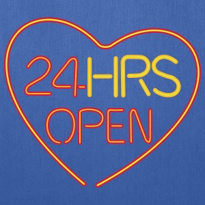 Navy neon sign: 24 hrs open heart Kids' Shirts - Tote Bag
