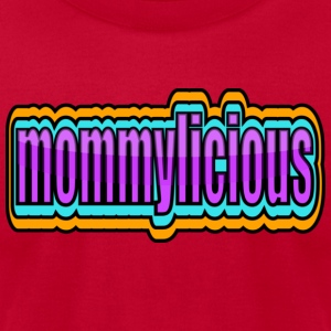 Red Funky Mommylicious With Borders--DIGITAL DIRECT PRINT Long Sleeve Shirts - Men's T-Shirt by American Apparel