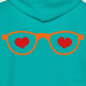 Teal LOVE nerdy glasses Women's T-Shirts - Unisex Fleece Zip Hoodie by American Apparel