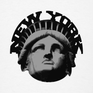 White new york statue of liberty Buttons - Men's T-Shirt
