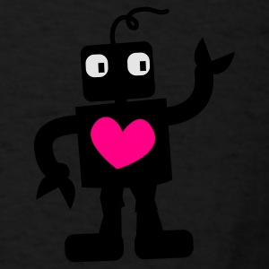 Dark red robot cute with love heart right Bags  - Men's T-Shirt