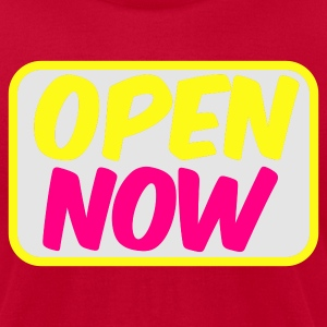 Red open now neon 80s font lights Long Sleeve Shirts - Men's T-Shirt by American Apparel