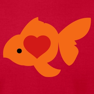 Red goldfish shape with beautiful love heart Long Sleeve Shirts - Men's T-Shirt by American Apparel
