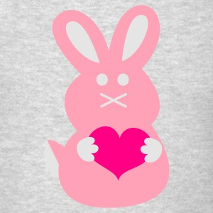 Heather grey BUNNY LOVE rabbit cute with little love hearts Long Sleeve Shirts - Men's T-Shirt