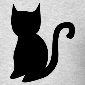 Heather grey simple halloween black cat shape Long Sleeve Shirts - Men's T-Shirt