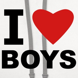 White I Love Boys Women's T-Shirts - Contrast Hoodie
