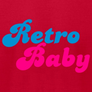 Red retro baby in funky cute font Baby Body - Men's T-Shirt by American Apparel