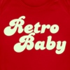 Red retro baby in funky cute font Baby Body - Short Sleeve Baby Bodysuit