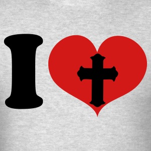 Heather grey I HEART  LOVE GOTHIC CROSS Long Sleeve Shirts - Men's T-Shirt