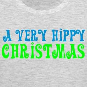 Heather grey A VERY HIPPY CHRISTMAS funny Long Sleeve Shirts - Men's Premium Tank