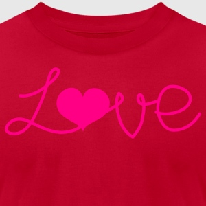 Red LOVE written with a love heart  Long Sleeve Shirts - Men's T-Shirt by American Apparel