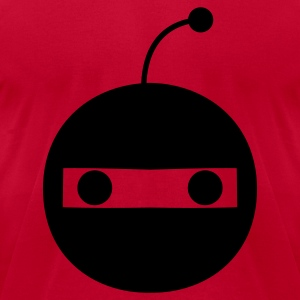 Red funny little robot mech face staring out at you Long Sleeve Shirts - Men's T-Shirt by American Apparel