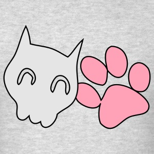 Heather grey CATTY SKULL with cute paw Long Sleeve Shirts - Men's T-Shirt