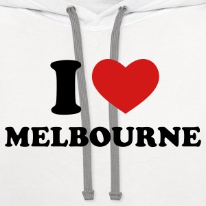 White I Love Melbourne Women's T-Shirts - Contrast Hoodie