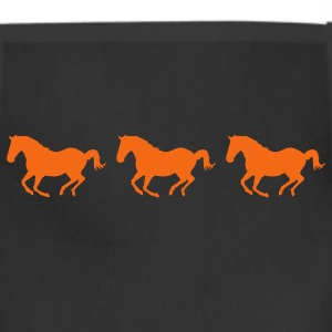 Black Three Horses Galloping Women's T-Shirts - Adjustable Apron