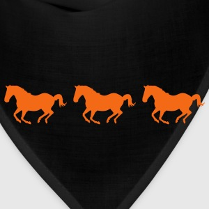Black Three Horses Galloping Women's T-Shirts - Bandana
