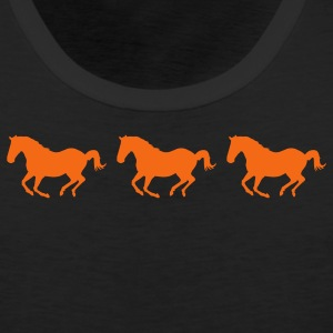 Black Three Horses Galloping Women's T-Shirts - Men's Premium Tank