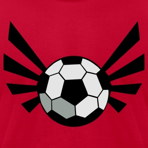 Red SOCCER BALL world cup with an awesome blaze ! Long Sleeve Shirts - Men's T-Shirt by American Apparel