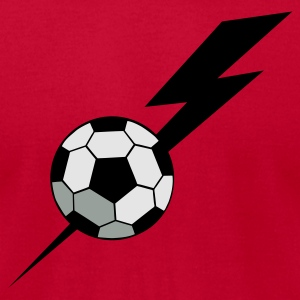 Red SOCCER BALL world cup with a LIGHTNING BOLT Long Sleeve Shirts - Men's T-Shirt by American Apparel