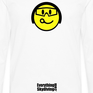White Smiling Face With Helmet And Goggles T-Shirts - Men's Premium Long Sleeve T-Shirt