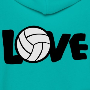 Teal I LOVE VOLLEYBALL ball Women's T-Shirts - Unisex Fleece Zip Hoodie by American Apparel