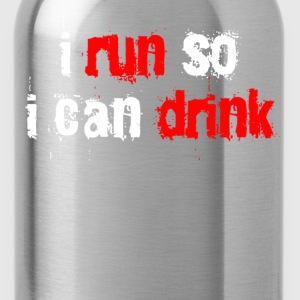 Black i run so i can drink T-Shirts - Water Bottle
