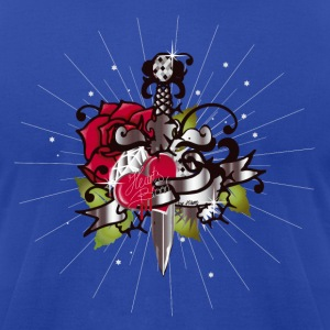 Royal blue The heart,the rose and the dagger Hoodies - Men's T-Shirt by American Apparel