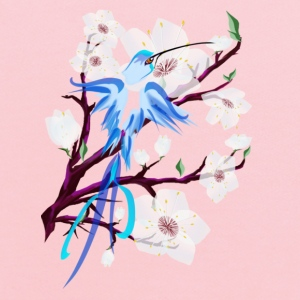 Blue Hummingbird and Cherry Blossoms - Kids' Hoodie