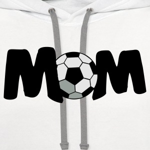 White FOOTBALL SOCCER MOM T-Shirts - Contrast Hoodie