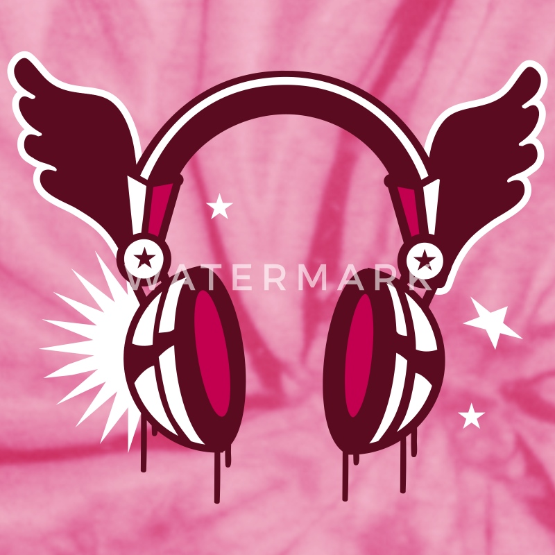 Spider pink flying_headphones-Headphones with wings T-Shirts - Unisex Tie Dye T-Shirt