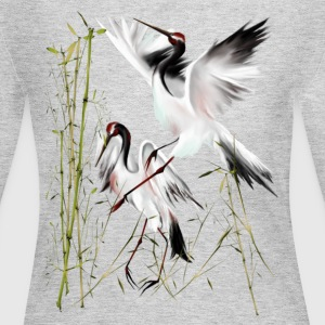 Two Cranes In Bamboo - Women's Long Sleeve Jersey T-Shirt