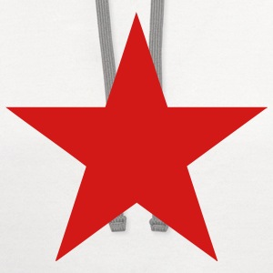 White Communist Red Star (1c) Women's T-Shirts - Contrast Hoodie