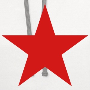 White Communist Red Star (1c) Kids' Shirts - Contrast Hoodie