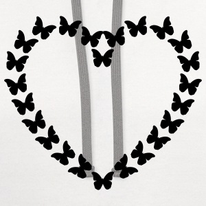 White Butterfly Heart (1c) T-Shirts - Contrast Hoodie
