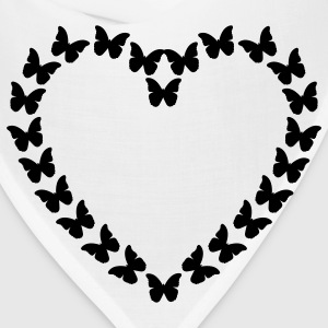 White Butterfly Heart (1c) T-Shirts - Bandana